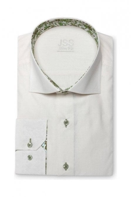 Plain Cream Slim Fit Shirt with Green Floral Trim