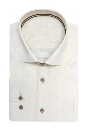 Plain Cream Slim Fit Shirt with Italian Style Fine Stitch Detailing