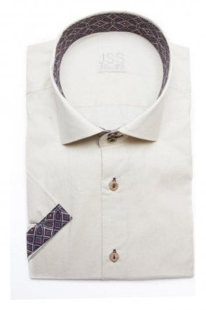 Plain Cream Slim Fit Short Sleeve Shirt with Dark Red Aztec Trim