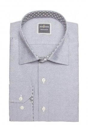 Plain Grey Slim Fit Shirt with Blue Paisley Trim