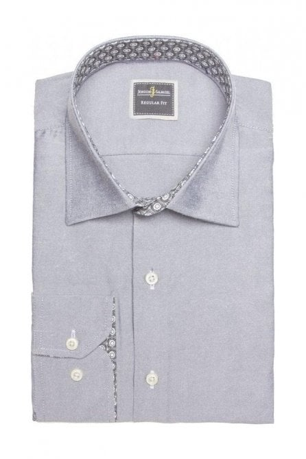 Plain Grey Slim Fit Shirt with Blue Paisley Trim