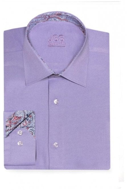 Plain Lilac Regular Fit Shirt with Blue & Red Paisley Trim