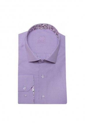 Plain Lilac Slim Fit Shirt with White Floral Trim