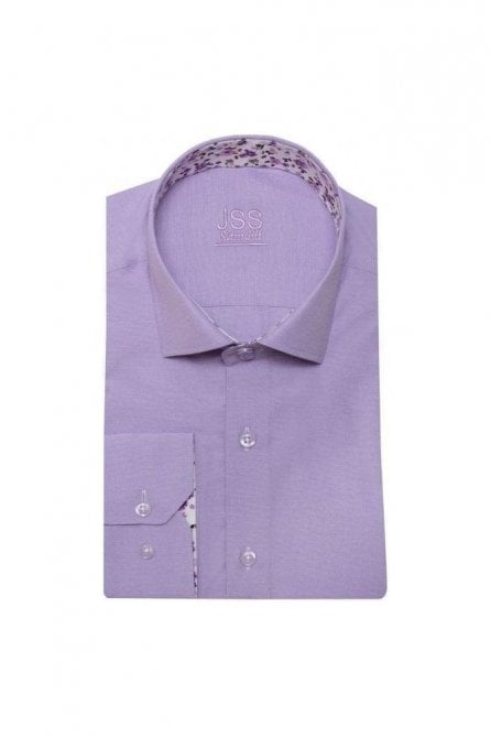 Plain Lilac Slim Fit Shirt with White Floral Trim