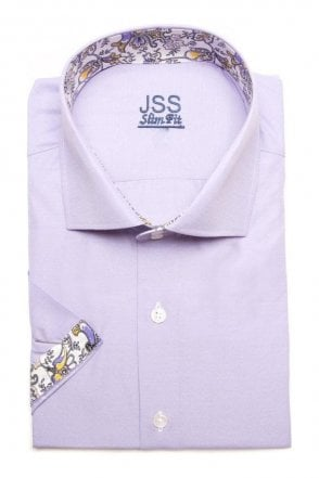 Plain Lilac Slim Fit Short Sleeve Shirt with White Paisley Trim