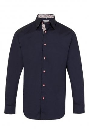 Plain Navy Regular Fit Shirt with Navy & White Paisley Trim