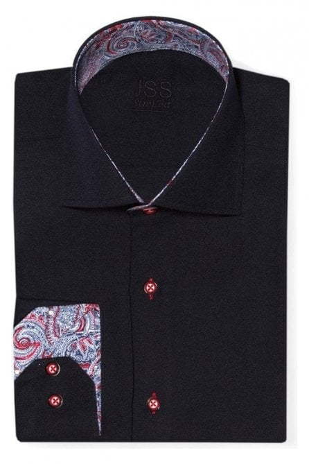 Plain Navy Slim Fit Shirt with Blue & Red Paisley Trim