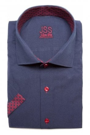 Plain Navy Slim Fit Short Sleeve Shirt with Red Aztec Trim