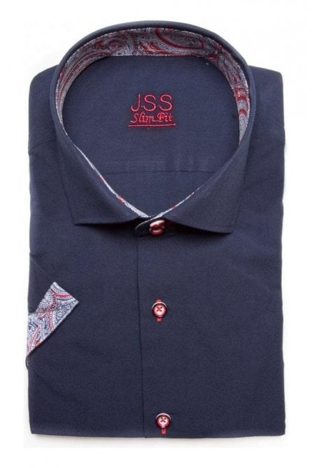Plain Navy Slim Fit Short Sleeved Shirt with Blue & Red Paisley Trim