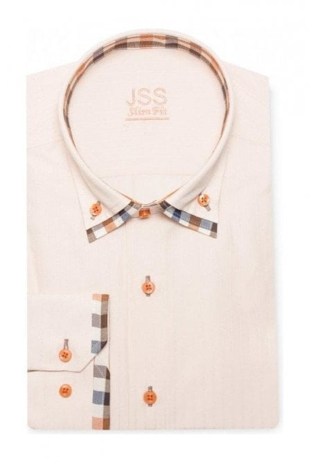 Plain Orange Slim Fit Shirt with Orange and Blue Checked Double Collar