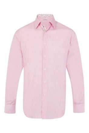 Plain Pink Regular Fit Shirt with Pink & White Floral Trim