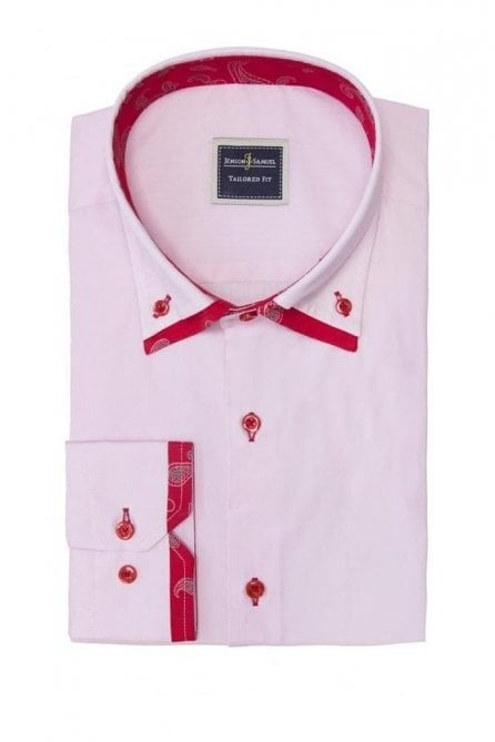 Plain Pink Slim Fit Shirt with Red Paisley Trim Double Collared