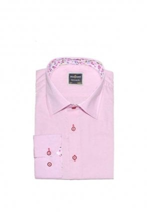 Plain Pink Regular Fit Shirt with White Floral Trim
