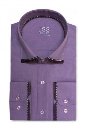 Plain Purple Slim Fit Shirt with Black Collar and Cuff Trim