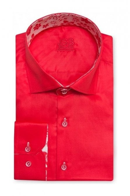 Plain Red Slim Fit Shirt with White Floral Trim