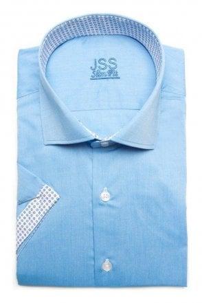 Plain Sky Blue Slim Fit Short Sleeve Shirt with White Trim
