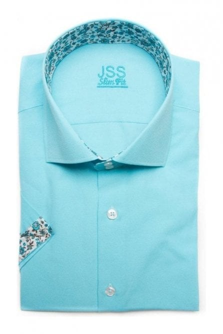 Plain Turquoise Slim Fit Short Sleeve Shirt with White Floral Trim