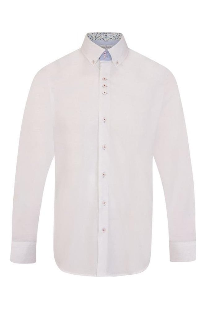 JSS Plain White Regular Fit 100% Cotton Shirt with Floral Button Down Collar