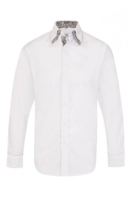 Plain White Regular Fit 100% Cotton Shirt with Paisley Double Collar