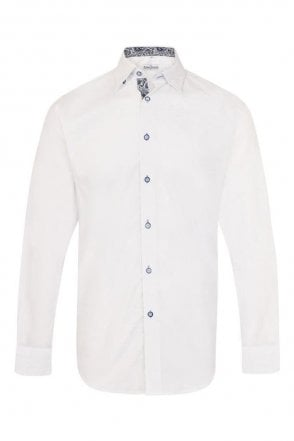 Plain White Regular Fit Shirt with Blue Paisley Trim