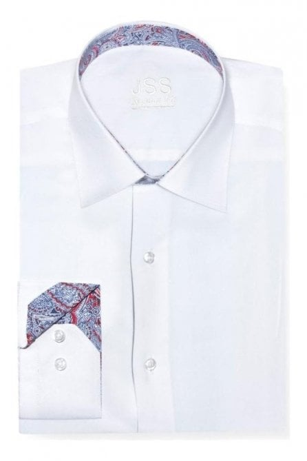 Plain White Regular Fit Shirt with Blue & Red Paisley Trim and Clear Buttons