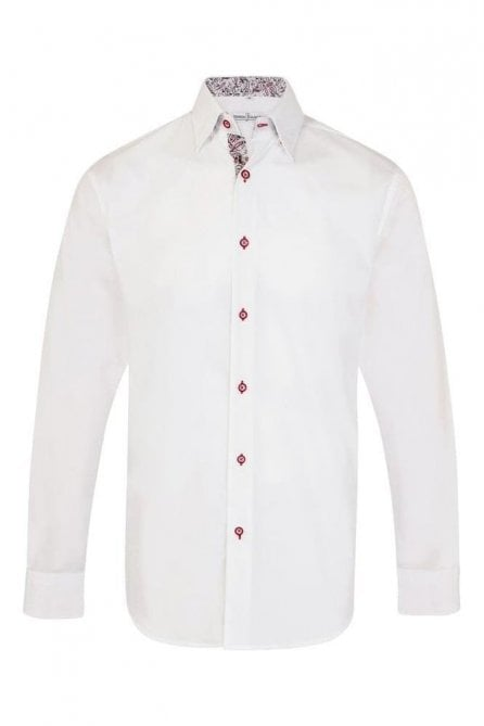 Plain White Regular Fit Shirt with Blue & Red Paisley Trim
