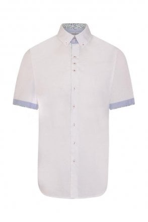 Plain White Regular Fit Short Sleeve Shirt with Turquoise Floral Trim