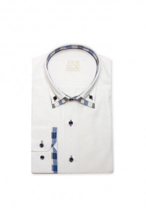 Plain White Slim Fit Shirt with Blue Checked Double Collar