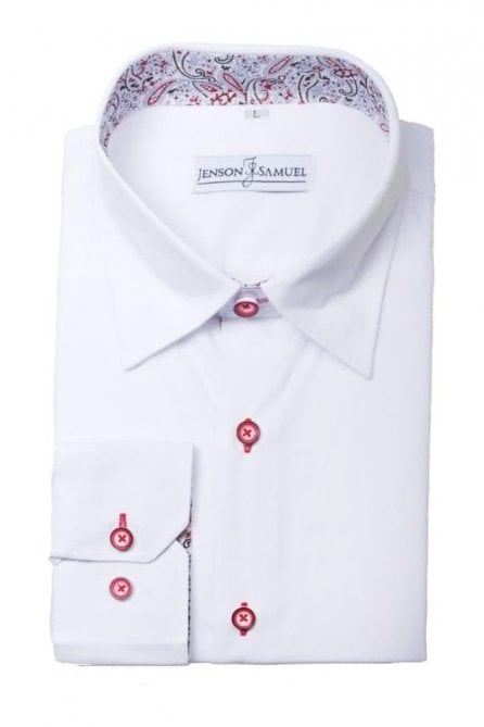Plain White Slim Fit Shirt with Blue & Red Paisley Trim