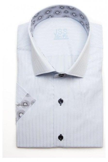 Plain White Slim Fit Short Sleeve Shirt with Black Patterned Trim