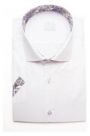 Plain White Slim Fit Short Sleeve Shirt with Lilac Paisley Trim
