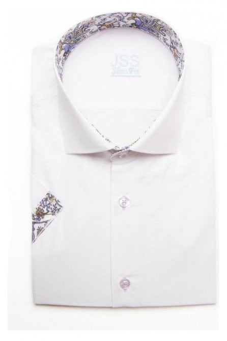 Plain White Slim Fit Short Sleeve Shirt with Lilac Paisley Trim