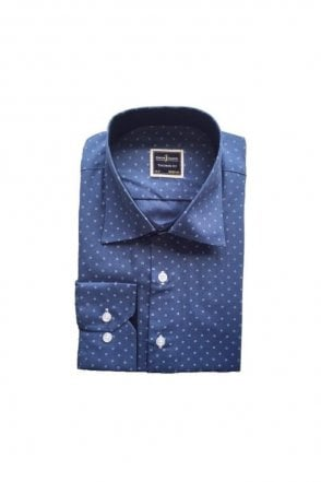 Polka Dot Navy Tailored Fit Shirt
