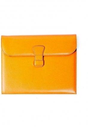 Premium leather Ipad Case - Orange leopard print