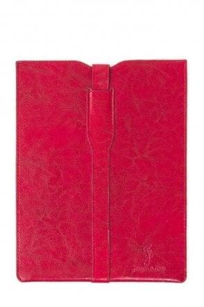 Premium leather Ipad Case - Red white floral