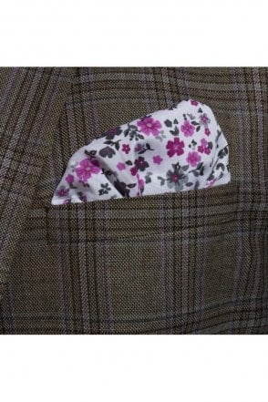 Purple Floral cotton pocket square