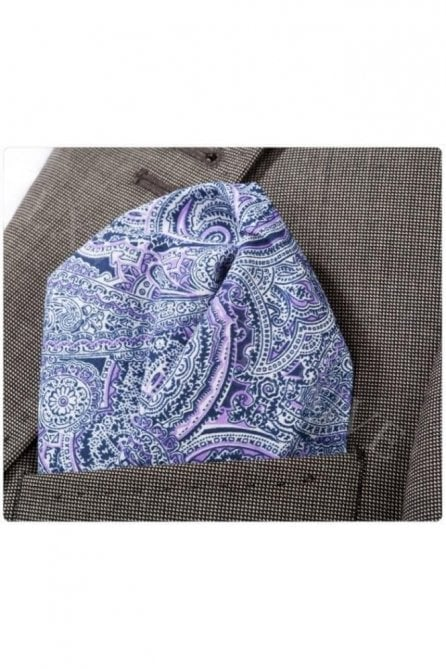 Purple Paisley Cotton Pocket Square