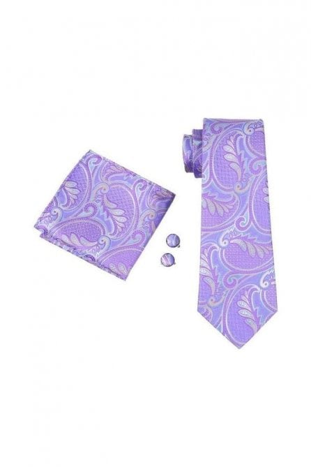 Purple paisley patterned pocket square, Cufflink and tie set