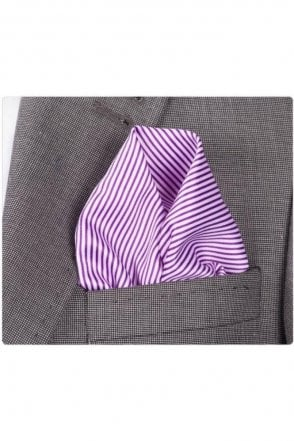 Purple & White Striped Silk Pocket Square