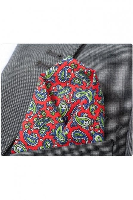Red, blue & green paisley cotton pocket square