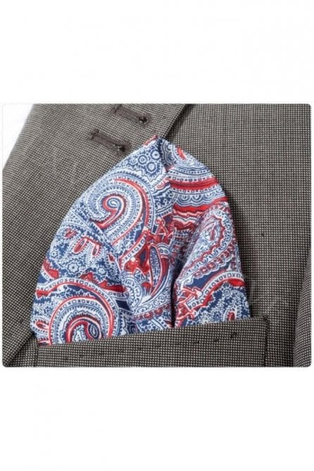 Red Paisley Cotton Pocket Square
