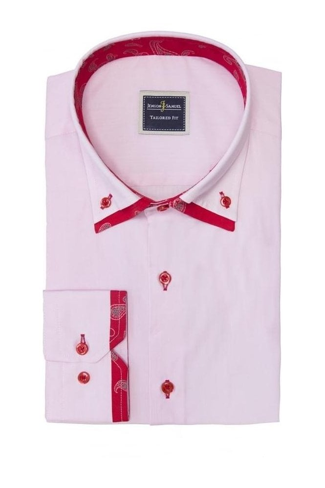 JSS Red Paisley Italian style double collar button down ...