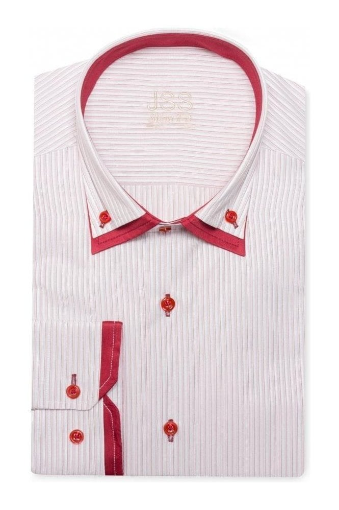 Jss red striped italian style double collar button down for Red and white striped button down shirt