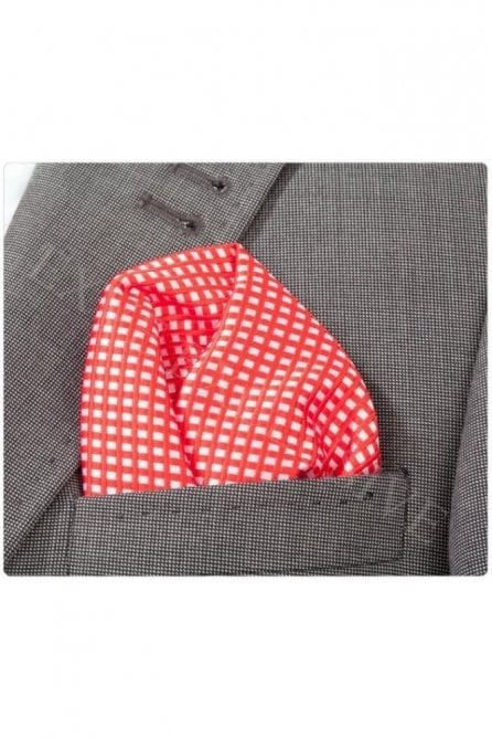 Red & White Check Silk Pocket Square