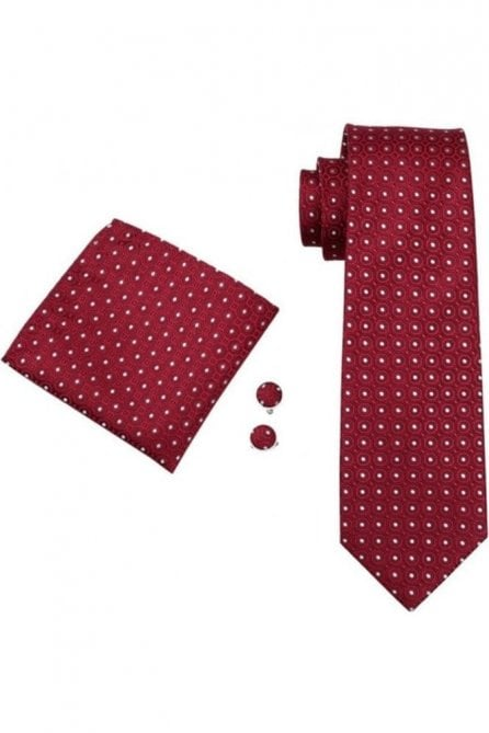 Red & white polka silk neck tie, pocket square & cufflink set