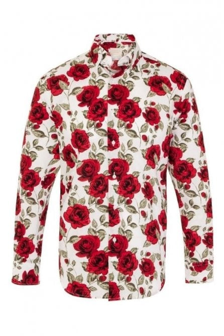 Rose Print White Regular Fit 100% Cotton Shirt
