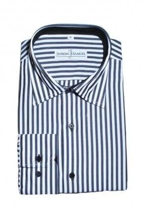 Striped Black & White Regular Fit 100% Cotton Shirt