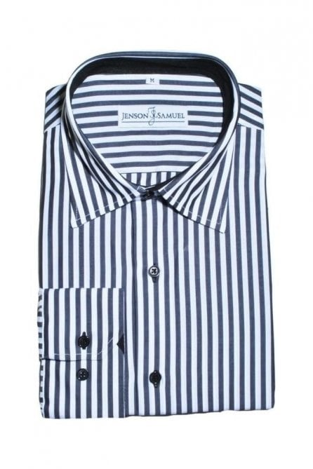 Striped Black & White Regular Fit 100% Cotton Shirt