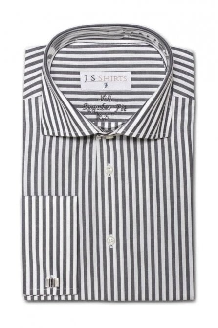 Striped Black & White Regular Fit Cotton Shirt with Cut Away Collar