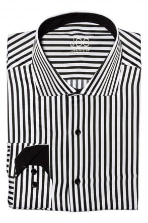 JSS Striped Black & White Slim Fit Shirt